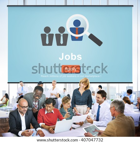 Jobs Hiring Occupation Recruitment Work Careers Concept - stock photo