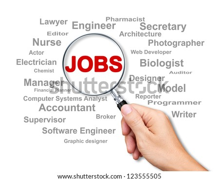 Jobs Search with a magnifying glass on white background