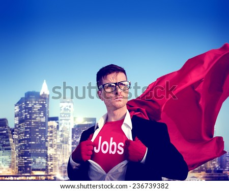 Jobs Strong Superhero Success Professional Empowerment Stock Concept - stock photo