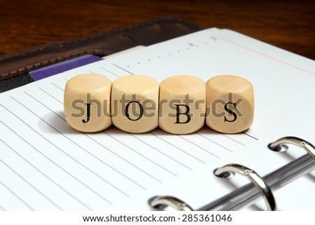 Jobs word concept on notebook