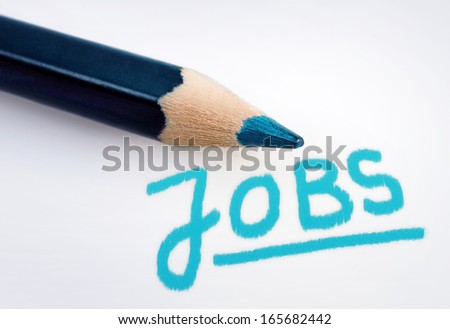 Jobs word on grey background - stock photo