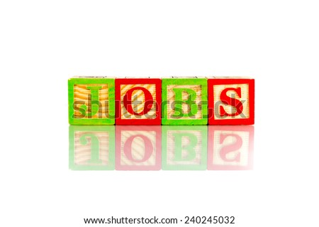 jobs word reflection on white background - stock photo