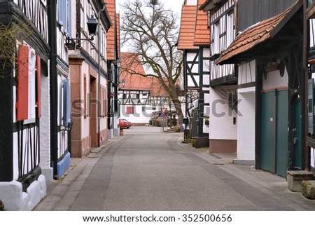 Jockgrim, Rhineland-Palatinate,Germersheim District, Germany - March 13, 2015: Empty street in the town of Jockgrim, German traditional houses on Ludwigstrasse. - stock photo