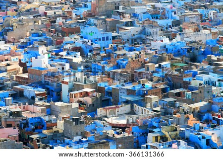 Jodhpur, the Blue City seen from Mehrangarh Fort, Rajasthan, India, Asia - stock photo