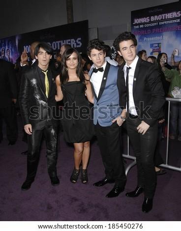 Joe Jonas, Demi Lovato, Nick Jonas, Kevin Jonas at JONAS BROTHERS THE 3D CONCERT EXPERIENCE Premiere, El Capitan Theatre, Los Angeles, CA 2/24/2009 - stock photo
