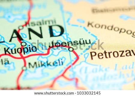 Joensuu Finland On Map Stock Photo 1033032145 Shutterstock