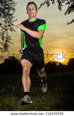 jogger in sunrise