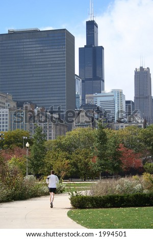 Jogging in Chicago with Sears Tower