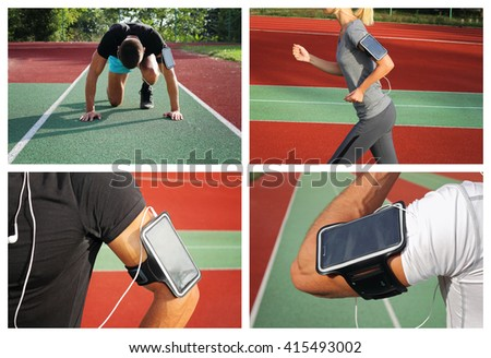Jogging, Sport, fitness,active lifesyle. Collage of jogging people .Sport people using personal fitness device doring working out.   - stock photo