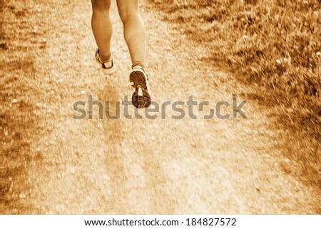 jogging through the landscape.  - stock photo