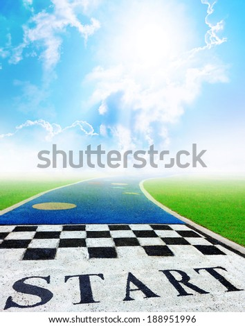 Jogging track in nature background with start sign. - stock photo