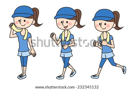 jogging woman illustration - stock photo