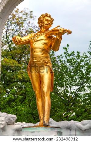 Johann Strauss statue at Stadtpark in Vienna, Austria - stock photo