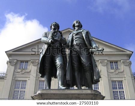 Johann Wolfgang Goethe and Friedrich Schiller Monument in Weimar - stock photo