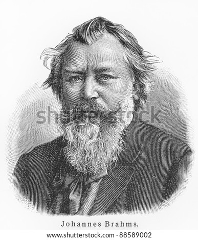 Johannes Brahms - Picture from Meyers Lexicon books written in German language. Collection of 21 volumes published between 1905 and 1909. - stock photo