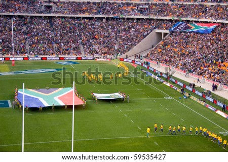 JOHANNESBURG- AUGUST 21: The opening of the South Africa vs New Zealand Rugby match at the FNB stadium on August 21, 2010 in Johannesburg. New Zealand beat South Africa by 29 points to 22. - stock photo