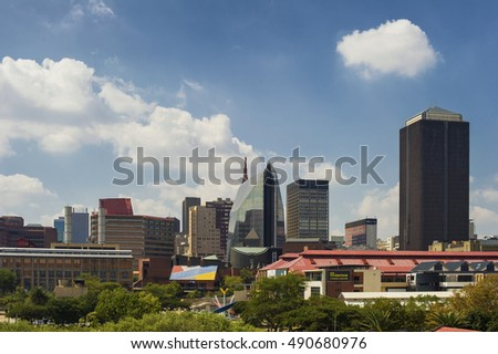 Johannesburg City Skyline, 10 April 2016. Photograph of the Central Financial District of Johannesburg, South Africa.