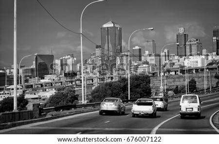 Johannesburg cityscape panoramic skyline city business district black and white photography modern