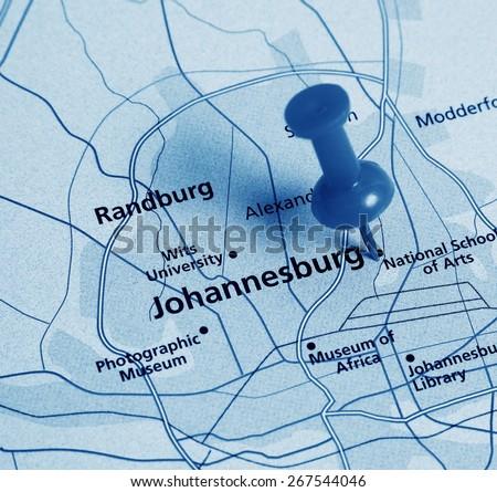 Johannesburg destination in the map - stock photo