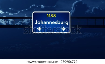 Johannesburg South Africa Highway Road Sign at Night 3D artwork - stock photo