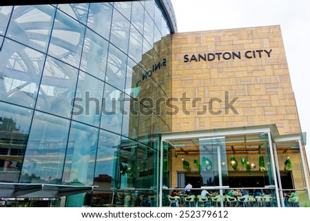 Johannesburg, South Africa - Jan 30 : financial district (Sandton area) pictured on January 30th, 2015, in Johannesburg, South Africa. Sandton City ranks among the largest shopping centres in Africa.  - stock photo