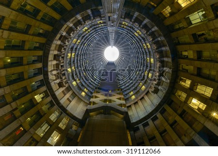 Johannesburg, South Africa - May 25, 2015: Ponte City Building interior cylinder. Ponte City is a famous skyscraper in the Hillbrow neighbourhood of Johannesburg. - stock photo