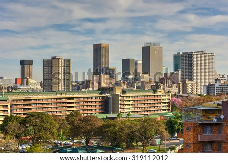 Johannesburg, South Africa - May 25, 2015: View from Ponte Tower unto the skyline of Johannesburg.