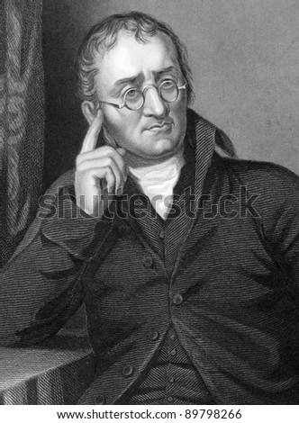 John Dalton (1766-1844). Engraved by C.Cook and published in Chemistry, Theoritical, Practical & Analytical, United Kingdom, 1860. - stock photo