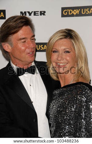 John Easterling and Olivia Newton-John at the G'Day USA Australia Week 2010 Black Tie Gala, Kodak Theater, Hollywood, CA. 01-16-10 - stock photo