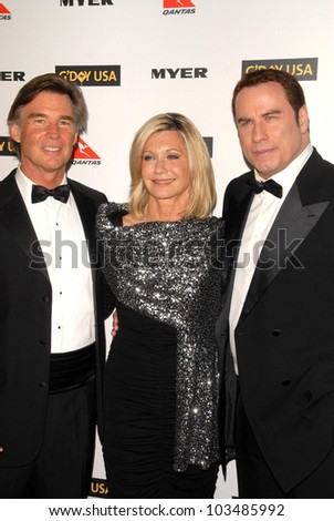 John Easterling, Olivia Newton-John and John Travolta at the G'Day USA Australia Week 2010 Black Tie Gala, Kodak Theater, Hollywood, CA. 01-16-10 - stock photo
