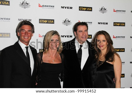 John Easterling, Olivia Newton John, John Travolta, Kelly Preston at the G'Day USA Australia Week 2011 Black Tie Gala, Hollywood Palladium, Hollywood, CA. 01-22-1 - stock photo