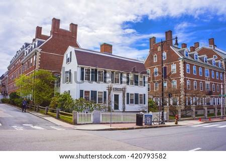 John F Kennedy Street in Harvard University Area of Cambridge, Massachusetts, USA. Tourist in the street. - stock photo