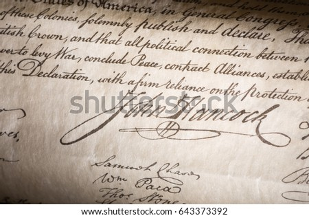 John Hancock Signature on the declaration of independence