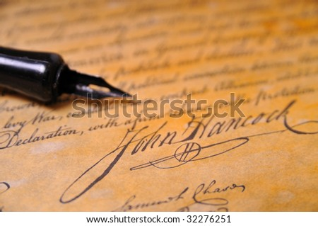 John Hancocks famous signature on the Declaration of Independence - stock photo