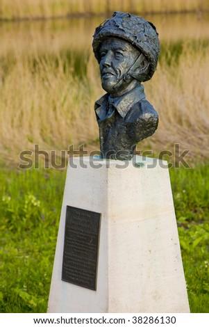 John Howard's statue, Pegasus Bridge, Normandy, France - stock photo