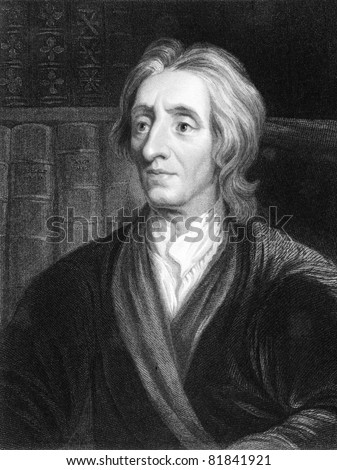 John Locke (1632-1704). Engraved by J.Pofselwhite and published in The Gallery Of Portraits With Memoirs encyclopedia, United Kingdom, 1836. - stock photo