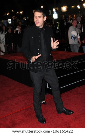 John Mayer   at Los Angeles Premiere of 'Marley and Me'. Mann Village Theater, Los Angeles, CA. 12-11-08 - stock photo