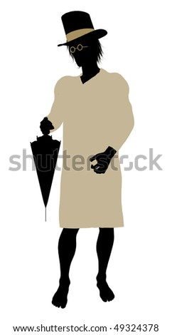 John of Peter Pan illustration silhouette on a white background