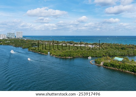 John U. Lloyd Beach State Park and the Stranahan River, Port Everglades, Fort Lauderdale, Florida - stock photo