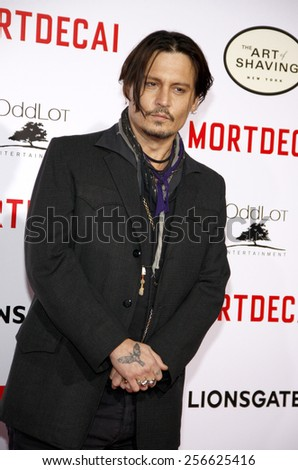 Johnny Depp at the Los Angeles premiere of 'Mortdecai'  held at the TCL Chinese Theatre in Los Angeles on Wednesday January 21, 2015.  - stock photo