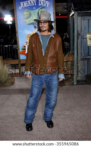 """Johnny Depp at the Los Angeles Premiere of """"Rango"""" held at the Regency Village Theater in Los Angeles in Los Angeles, California, United States on February 14, 2011.  - stock photo"""