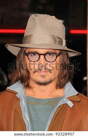 "Johnny Depp at the ""Rango"" Los Angeles Premiere, Village Theater, Westwood, CA. 02-14-1 at the ""Rango"" Los Angeles Premiere, Village Theater, Westwood, CA. 02-14-11 - stock photo"