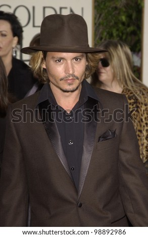 JOHNNY DEPP at the 61st Annual Golden Globe Awards at the Beverly Hilton Hotel, Beverly Hills, CA. January 25, 2004 - stock photo