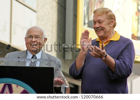 Johnny Grant and Jerry Buss at the Ceremony Honoring Los Angeles Lakers Owner Jerry Buss with the 2,323rd star on the Hollywood Walk of Fame. Hollywood Boulevard, Hollywood, CA. 10-30-06 - stock photo