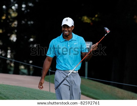 JOHNS CREEK, GEORGIA, USA - AUG 10: Tiger Woods walking on the course during practice rounds at the 2011 PGA Championship tournament in Jonhs Creek, Georgia on August 10, 2011. - stock photo