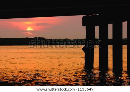 Johns Pass Bridge at Sunrise. Madeira Beach Florida - stock photo