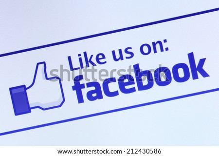 Johor, Malaysia - Jun 17, 2014: Like us on Facebook icon on computer screen, Facebook is a popular free social networking website in the world, Jun 17, 2014 in Johor, Malaysia. - stock photo