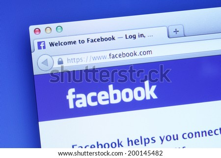 Johor, Malaysia - May 06, 2014: Facebook homepage on a monitor screen. Facebook is the world�¢??s largest social network, May 06, 2014 in Johor, Malaysia.