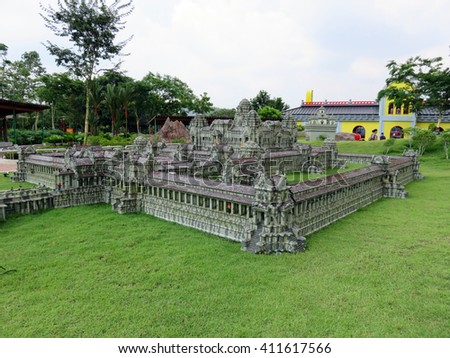 JOHOR MALAYSIA  - NOVEMBER 11:  Angkor Wat Temple Complex Cambodia  LEGOLAND MINILAND Malaysia Theme Park November 11, 2014  in Johor, Malaysia - stock photo