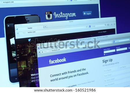Johor, Malaysia - Sep 6, 2013: Photo of Facebook, Twitter and Instagram homepage on a monitor screen. There are famous social networking sites on the web, Sep 6, 2013 in Johor, Malaysia. - stock photo